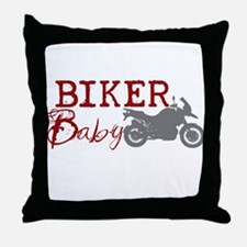 Biker Baby Throw Pillow