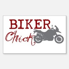 Biker Chick Rectangle Decal