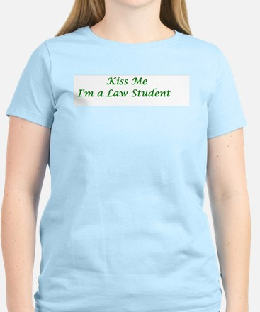 Kiss Me I'm a Law Student Women's Pink T-Shirt