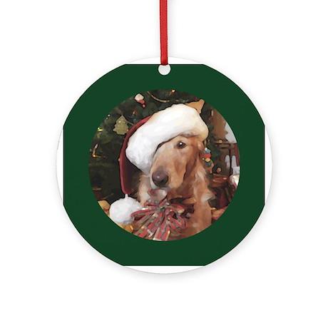 Golden Retriever Santa Claws Round Ornament