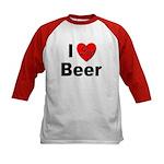 I Love Beer (Front) Kids Baseball Jersey