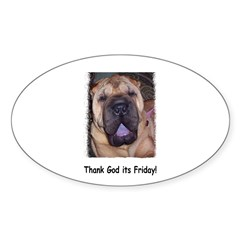 Thank God It's Friday Oval Decal