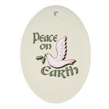 Peace on Earth - Dove Oval Ornament