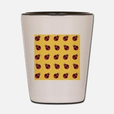 Cute Red Ladybug Yellow Pattern Shot Glass