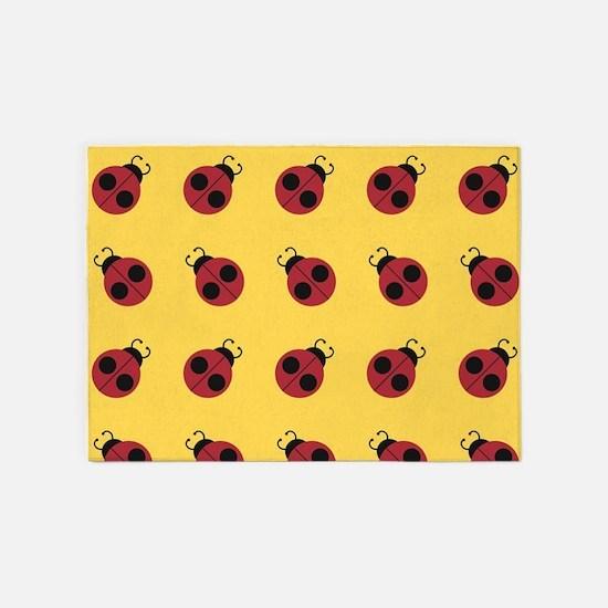 Cute Red Ladybug Yellow Pattern 5'x7'Area Rug
