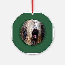 Briard Green Round Ornament