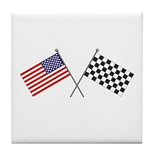 American-Checker Flag Tile Coaster