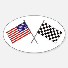 American-Checker Flag Oval Decal