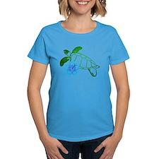 Sea Turtle Hibiscus Blue Tee