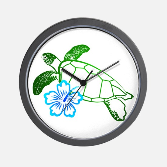 Sea Turtle Hibiscus Blue Wall Clock