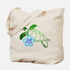 Sea Turtle Hibiscus Blue Tote Bag
