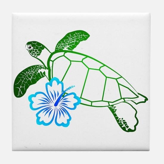 Sea Turtle Hibiscus Blue Tile Coaster