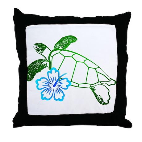 Sea Turtle Hibiscus Blue Throw Pillow