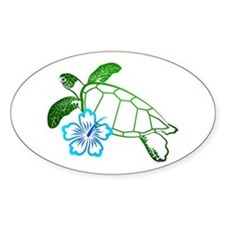 Sea Turtle Hibiscus Blue Oval Decal