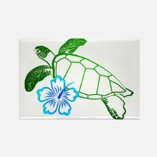 Sea Turtle Hibiscus Blue Rectangle Magnet (10 pack