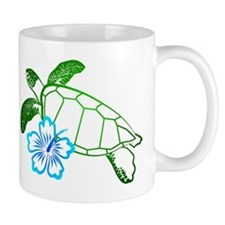 Sea Turtle Hibiscus Blue Mug