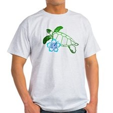 Sea Turtle Hibiscus Blue T-Shirt