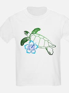 Sea Turtle Hibiscus Blue T-Shirt