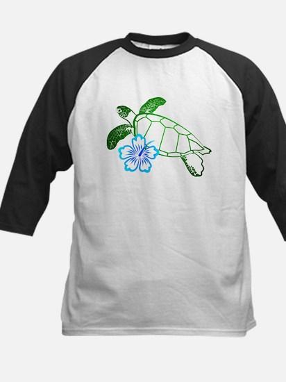 Sea Turtle Hibiscus Blue Kids Baseball Jersey