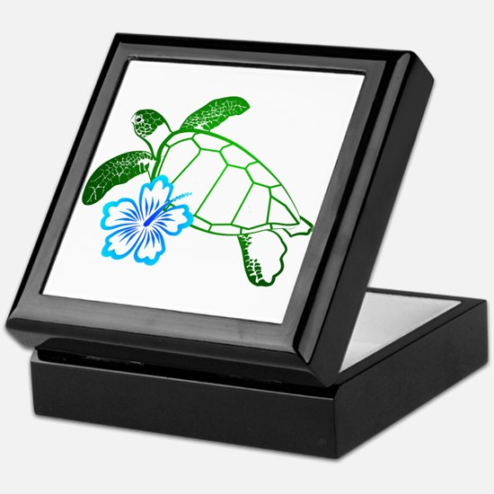 Sea Turtle Hibiscus Blue Keepsake Box