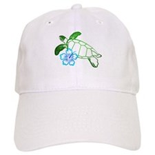 Sea Turtle Hibiscus Blue Baseball Cap