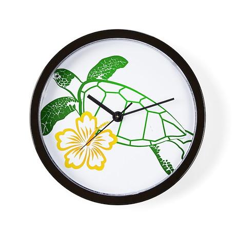 Sea Turtle Hibiscus Yellow Wall Clock