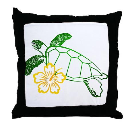 Sea Turtle Hibiscus Yellow Throw Pillow