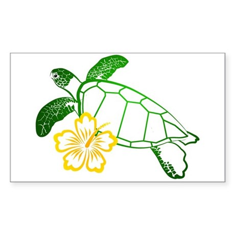 Sea Turtle Hibiscus Yellow Rectangle Sticker