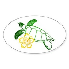 Sea Turtle Hibiscus Yellow Oval Decal