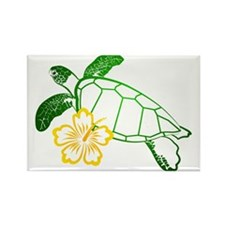Sea Turtle Hibiscus Yellow Rectangle Magnet