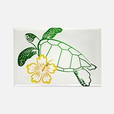 Sea Turtle Hibiscus Yellow Rectangle Magnet