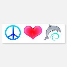 Peace Love Bottlenose Dolphin Bumper Bumper Bumper Sticker
