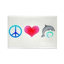 Peace Love Bottlenose Dolphin Rectangle Magnet