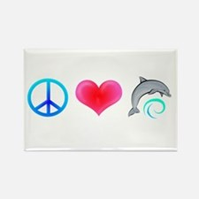 Peace Love Bottlenose Dolphin Rectangle Magnet