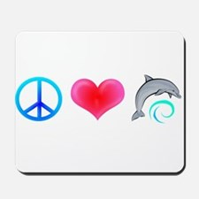 Peace Love Bottlenose Dolphin Mousepad