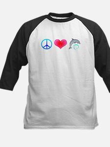 Peace Love Bottlenose Dolphin Kids Baseball Jersey