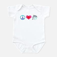 Peace Love Bottlenose Dolphin Infant Bodysuit