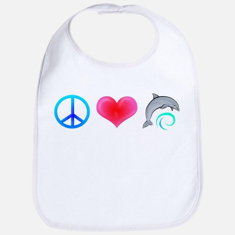 Peace Love Bottlenose Dolphin Bib