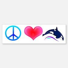 Peace Love Orca Bumper Bumper Bumper Sticker