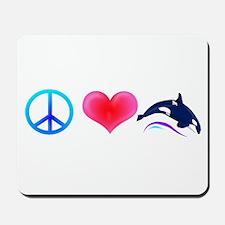 Peace Love Orca Mousepad