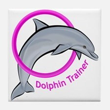 Dolphin Trainer Pink Tile Coaster