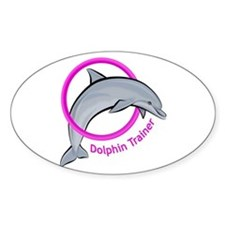 Dolphin Trainer Pink Oval Decal