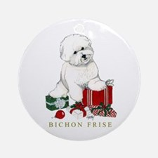 Bichon Frise Christmas Package Ornament (Round)