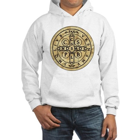 St Benedict Medal with Latin on back Hooded Sweats