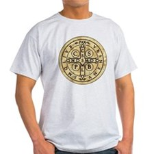 St Benedict Medal with Latin on back T-Shirt