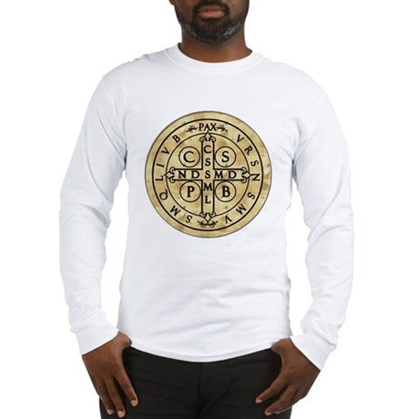 St Benedict Medal with Latin on back Long Sleeve T