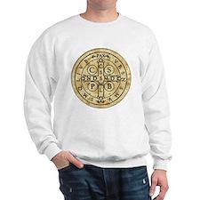 St Benedict Medal with Latin on back Sweatshirt