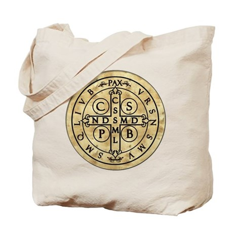 St Benedict Medal with Latin on back Tote Bag