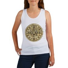 St Benedict Medal with Latin on back Women's Tank