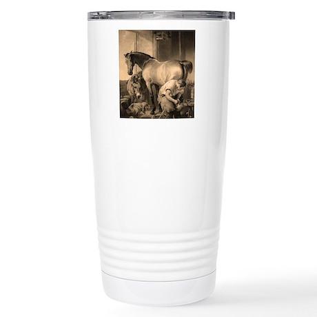Farrier Shoeing A Horse Stainless Steel Travel Mug